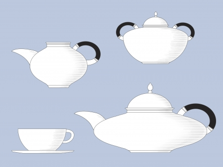 Black and white line drawing of antique style teaset, with teapot, cup &amp, saucer, milk jug and sugar bowl Vector
