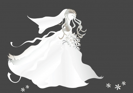 illustration of a bride on dark background with copy space Vector