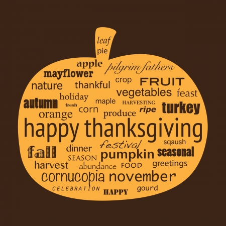 Happy Thanksgiving word collage in shape of pumpkin. Vector