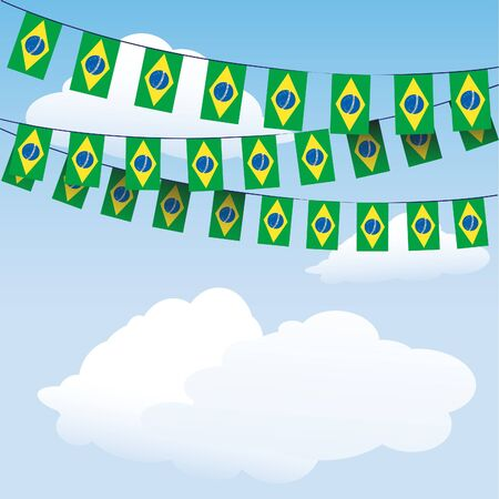Brazil Flag bunting on cloud background with space for your text Vector