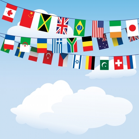 bunting flags: Flags of the World bunting on cloud background with space for your text  EPS10 vector format Illustration