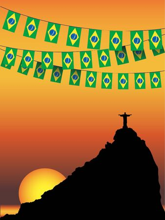 janeiro: Brazil Flag bunting on Rio De Janeiro sunset background  EPS10 vector format Illustration