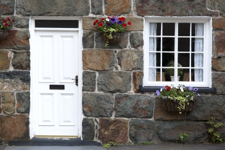 cottages: Details of traditional cottage. Village in Snowdonia, North Wales, UK Stock Photo