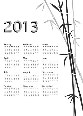 A 2013 calendar. Chinese style with bamboo background in black and white. EPS10 vector. Vector