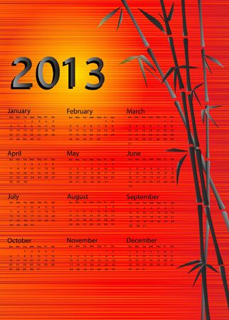 A 2013 calendar. Chinese style with bamboo and red silk and yellow sun background. EPS 10 vector. Stock Vector - 15191605