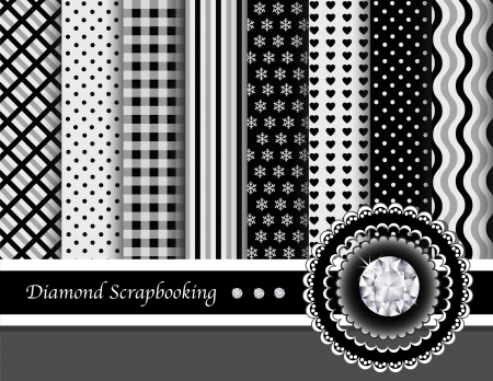 scrapbooking paper: Diamond digital scrapbooking paper swatches in elegant black, white and grey. EPS10 vector format. Illustration