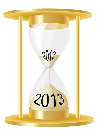 An illustration of a hour glass depicting sand running out from 2012 and into 2013. EPS10 vector format