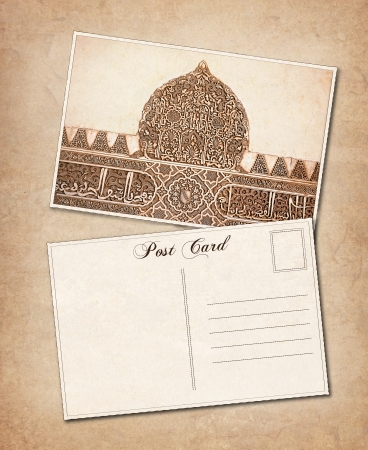 Vintage effect Postcard background with detail from the Alhambra Palace, Granada, Spain  Space for your text  photo