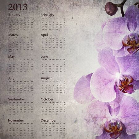 Vintage orchid calendar for 2013 photo