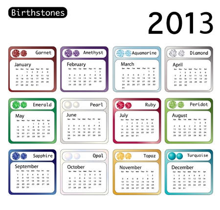 A 2013 calendar showing birthstones for each month. Vector