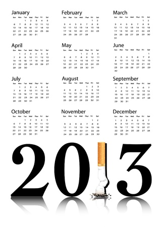 quit smoking: New Year resolution Quit Smoking Calendar with the 1 in 2013 being replaced by a stubbed out cigarette.