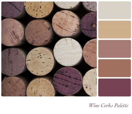 swatches: Wine corks background colour palette with complimentarty swatches  Stock Photo