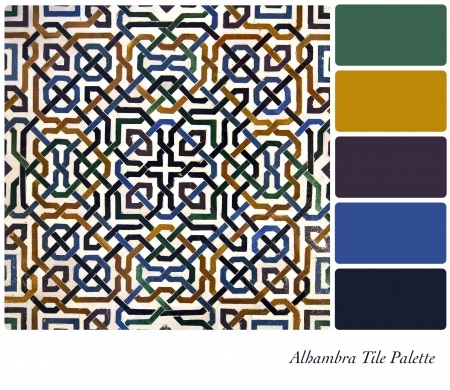 granada: Alhambra Tile detail colour palette with complimentary swatches  Stock Photo