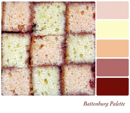 cake pick: Battenburg cake background colour palette with complimentary swatches