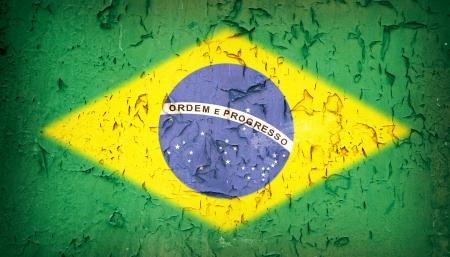 brazilian flag: Vintage effect Brazilian flag