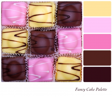 color palette: Small fancy cakes arranged in a checkerboard format  Colour palette with complimentary colour swatches