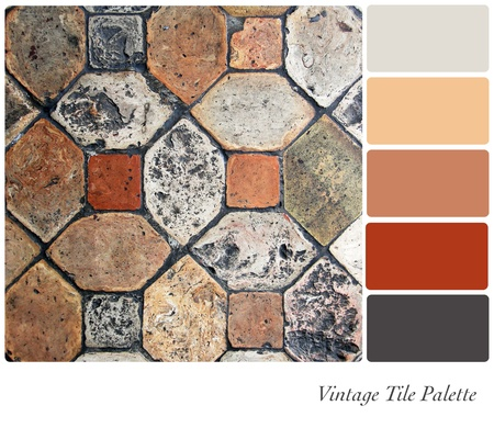 mosaic floor: Vintage tile background colour palette with complimentary swatches.