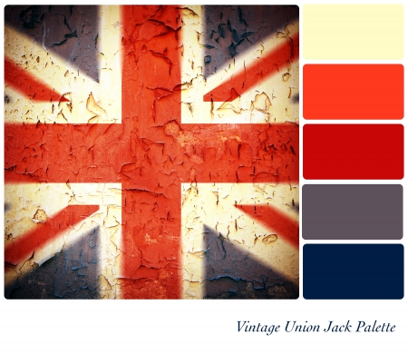 Vintage Union Jack background colour palette with complimentary swatches.