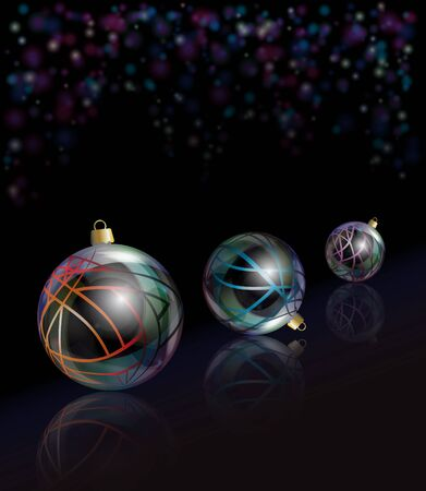 Three elegant glass Christmas baubles reflected on black background with bokeh effect. EPS10 vector format. Vector