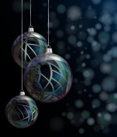Elegant glass Christmas baubles against bokeh background. EPS10 vector format. Vector