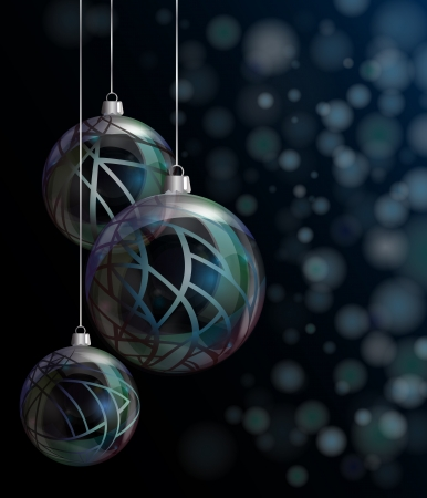 Elegant glass Christmas baubles against bokeh background. EPS10 vector format. Stock Vector - 15649299