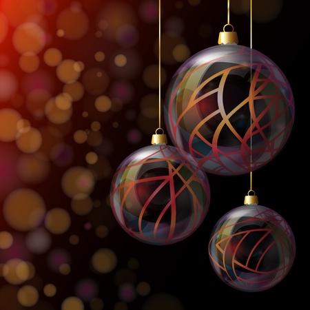 Elegant glass Christmas baubles against bokeh background. EPS10 vector format. Stock Vector - 15649300