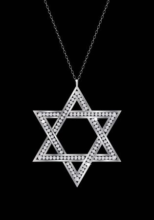 A diamond Star of David necklace on chain. Isolated on black background. EPS10 vector format. Vector