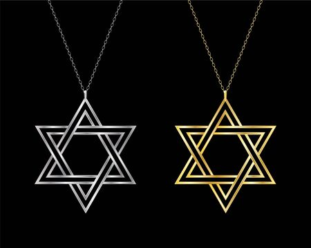 Gold and silver Star of David necklaces. Also available in vector format. Vector