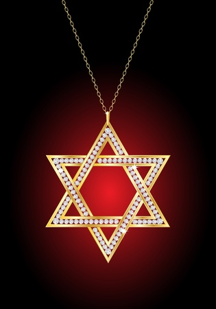 A diamond Star of David necklace on gold chain, against red and black background . EPS10 vector format. Vector