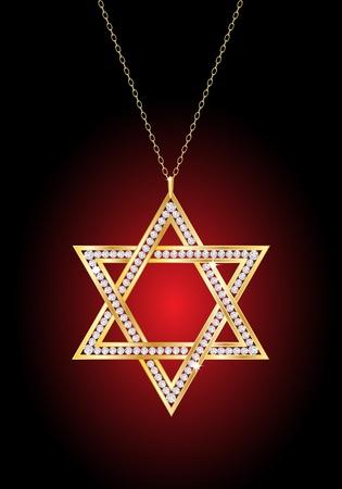 Una estrella de David collar de diamante en la cadena de oro, sobre fondo rojo y negro. EPS10 vector format.