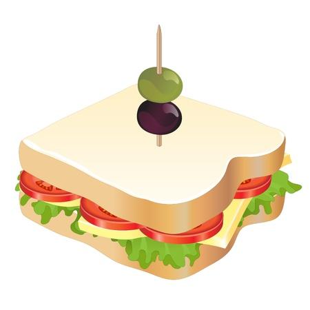Een kaas en tomaat sandwich geïsoleerd op een witte achtergrond. EPS10 vector-formaat. Stock Illustratie