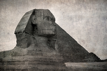 The Sphinx and Piramid, Giza, Egypt  Vintage style effect of old picture postcard  photo