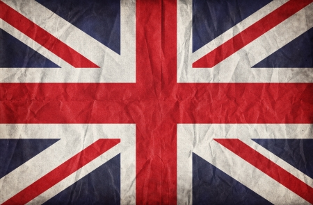 Union Jack on crumpled paper background  Vintage effect photo