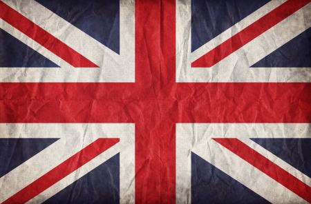 drapeau angleterre: Union Jack sur l'effet froiss� de papier de cru fond