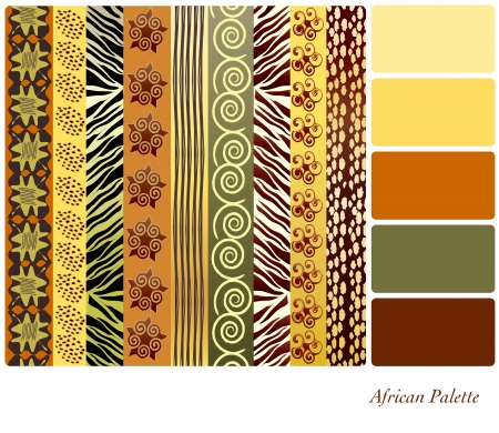 African style patterns with complimentary colour swatches Vector