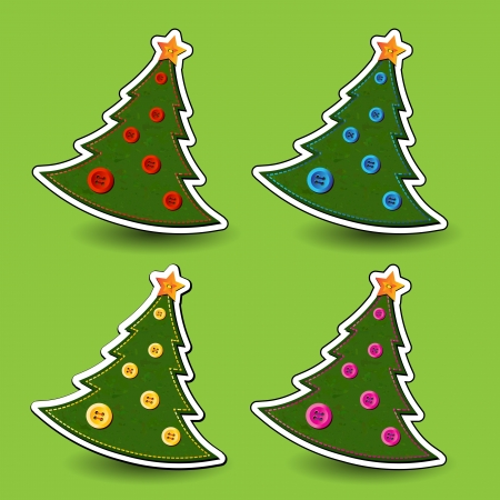 Felt effect Christmas trees isolated on green background  Handstitching and buttons for decorations   Vector
