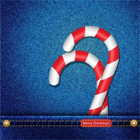Candy canes in denim pocket and a tab wishing a Merry Christmas Illustration