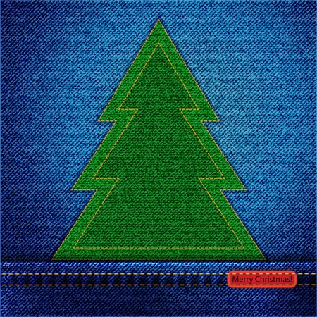 A denim background with an applique Christmas tree and a tab wishing a Merry Christmas Vector
