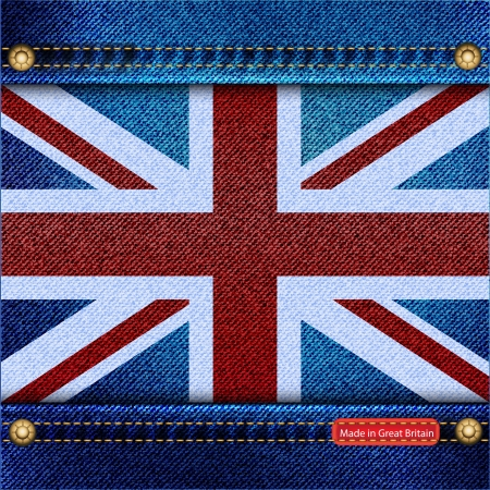 Union Jack motif of denim background with stitch detail and rivets. Made in Great Britain concept