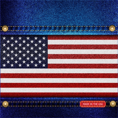 Stars and Stripes motif of denim background with stitch detail and rivets. Made in the USA concept Illustration