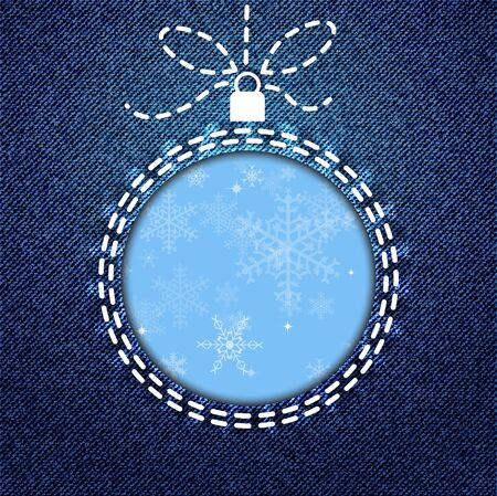 stitching: A cutout of a Christmas bauble on denim background with snowflake pattern