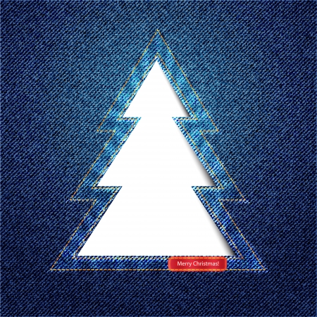 garment label: A Christmas tree cutout on denim background with space for text
