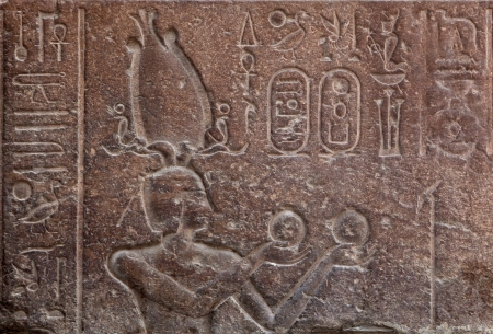 Hieroglyphs on ancient carving, Cairo, Egypt  photo