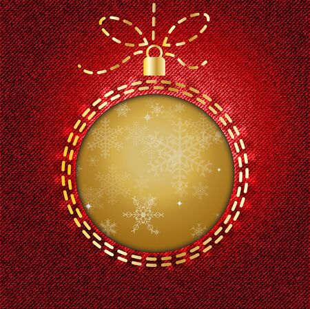 A cutout of a Christmas bauble on red denim background with snowflake pattern   Vector