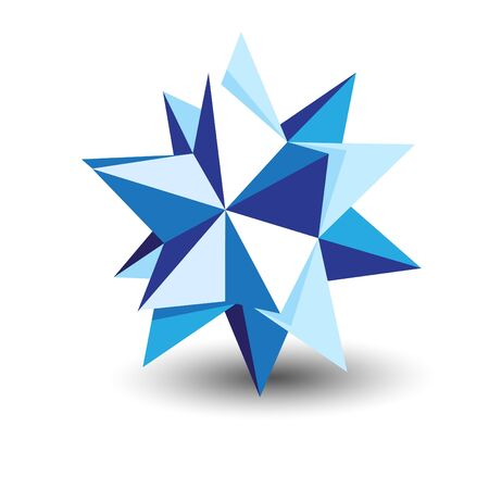 Multipoint origami star in blue tones Vector