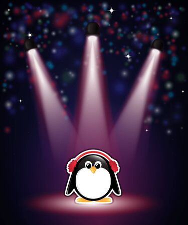 earmuffs: A cute cartoon penguin in earmuffs, with winter theme background of snow and stars