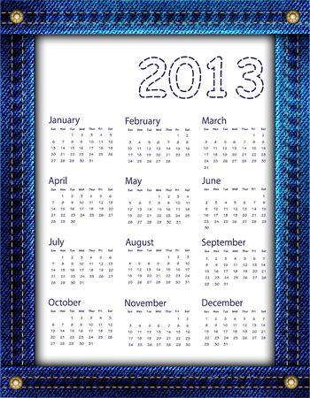 A blue denim calendar for 2013  Stock Vector - 16613389