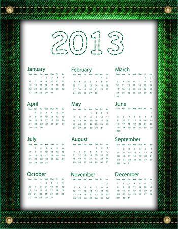 A green denim calendar for 2013 Stock Vector - 16611554