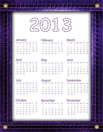 A purple denim calendar for 2013   Stock Vector - 16611548