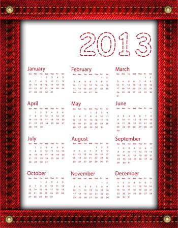 A red denim calendar for 2013 Stock Vector - 16614309
